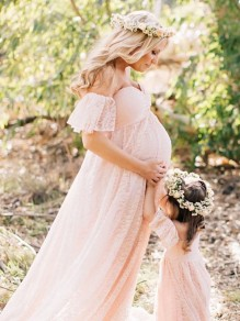 Baby Pink Patchwork Lace Trailing Off Shoulder Maternity Babyshower Elegant Maxi Dress
