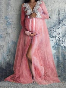 Pink Lace Grenadine Bowknot Slit Deep V-neck For Babyshower Elegant Maternity Maxi Dress