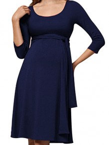 Navy Blue Patchwork Belt Maternity and Lactant Women Fashion Midi Dress