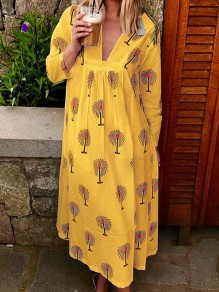 Yellow Floral Comfy V-neck Long Sleeve Fashion Maternity Dress