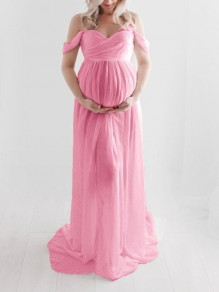 Pink Slit Sweetheart Neckline Short Sleeve Maxi Dress Maternity Dress