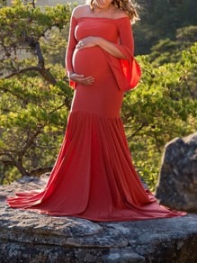 Red Patchwork Draped For Babyshower Boat Neck Long Sleeve Fashion Maternity Dress
