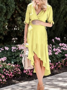 Yellow Pleated Belt Irregular High-Low Maternity For Babyshowes Maxi Dress