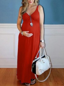Red Draped Deep V-neck Sleeveless High Waisted Babyshower Maternity Dress