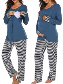 Blue Striped Buttons Long Two Piece Sleepwear Maternity Jumpsuit