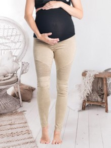 Khaki Patchwork Pleated Slim High Waisted Fashion Maternity Pants