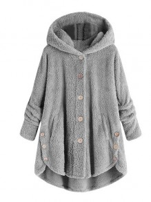 Grey Patchwork Single Breasted Long Sleeve Fashion Outerwears