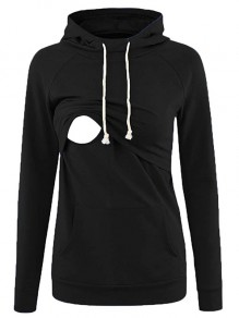 Black Pocket Drawstring Hooded Long Sleeve Pullover Maternity Nursing Sweatshirt