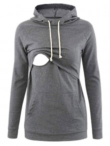 Grey Pocket Drawstring Hooded Long Sleeve Pullover Maternity Sweatshirt