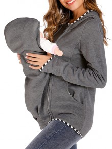 Dark Grey Kangaroo Pocket Zipper Long Sleeve Fashion Pullover Maternity Sweatshirts