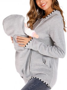 Light Grey Kangaroo Pocket Zipper Long Sleeve Fashion Pullover Maternity Sweatshirts
