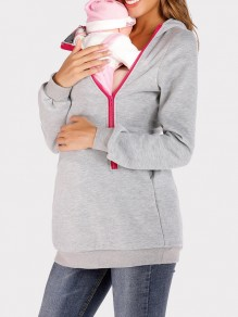 Light Grey Pockets Zipper Hooded Long Sleeve Multi-Functional Maternity Sweatshirt