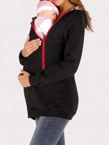 Black Pockets Zipper Hooded Long Sleeve Multi-Functional Maternity Sweatshirt