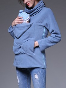 Blue Pockets Zipper Hooded Long Sleeve Multi-Functional Kangaroo Bag Maternity Sweatshirt