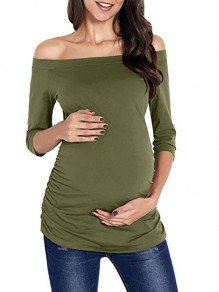 Army Green Draped Off Shoulder Backless 3/4 Sleeve Pajama Casual Maternity T-Shirt
