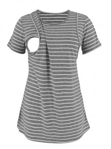 Grey Striped Cut Out Breast-Feeding Round Neck Short Sleeve Fashion Maternity T-Shirt