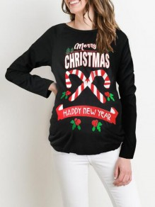 Black Monogram Merry Christmas Happy New Year Pattern Long Sleeve Christmas Maternity T-Shirt