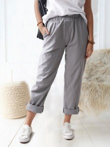 Grey Patchwork Pockets Elastic Waist Loose Fashion Long Pants