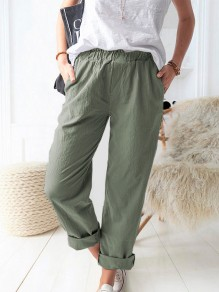 Green Patchwork Pockets Elastic Waist Loose Fashion Long Pants