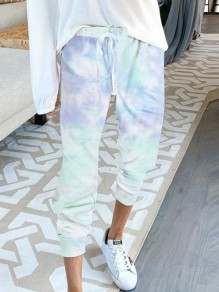 Blue Colorful Tie Dye Drawstring Jogger High Waisted Casual Pants