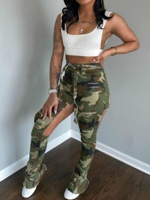 Army Green Camouflage Cut Out Sashes Ripped Distressed Flare Bell Bottom Long Pants