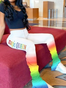 White Rainbow High Waisted Bell Bottomed Flares Stacked Sports Long Pant