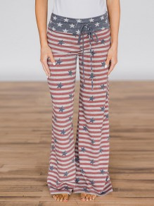 Red Striped American Flag Print Drawstring Waist Long Wide Leg Palazzo Pants Lounge Bottoms