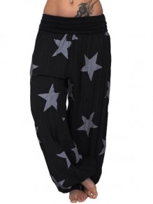 Black Star Print High Waisted Harem Long Lantern Lounge Bottoms