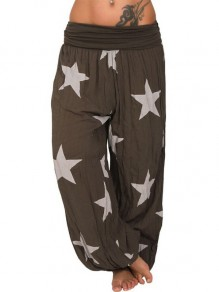 Coffee Star Print High Waisted Harem Long Lantern Lounge Bottoms