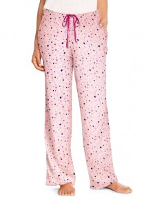 Pink Polka Dot Print Drawstring Pockets High Waisted Casual Wide Leg Palazzo Loungewear Lounge Bottoms