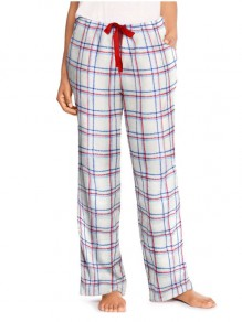 White Plaid Print Drawstring Pockets High Waisted Casual Wide Leg Palazzo Loungewear Lounge Bottoms