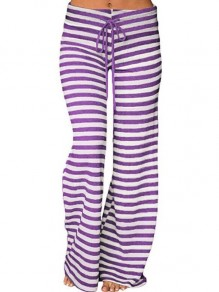 Purple Striped Drawstring High Waisted Casual Wide Leg Palazzo Loungewear Lounge Bottoms
