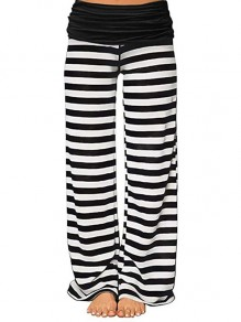 Black-White Striped Casual High Waisted Wide Leg Palazzo Yoga Track Loungewear Lounge Bottoms