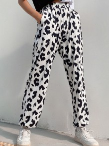 Black White Cow Print Pockets Jogger High Waisted Long Pants