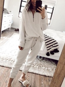 White Zipper Comfy Fashion Long Loungewear Lounge Set