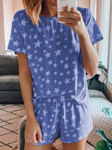 Sapphire Blue Star Print Round Neck Short Sleeve Casual Sweet Pajama Short Loungewear Lounge Set