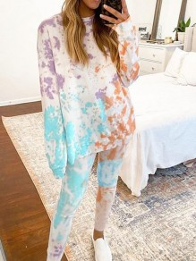 Blue Colorful Tie Dye Print Pockets Round Neck Long Sleeve Drawstring Waist Long Lounge Set