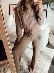 Khaki Star Print Round Neck Long Sleeve Drawstring Waist Long Lounge Set