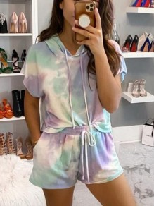 Purple Blue Color Block Drawstring Tie Dye Sweet Short Loungewear Lounge Set