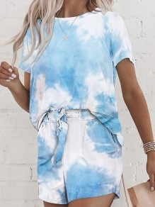 Blue White Tie Dye Pockets 2-in-1 Drawstring Loungewear Pajamas Lounge Set
