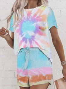 Blue Pink Colorful Sunflower Tie Dye Pockets 2-in-1 Drawstring Honey Girl Loungewear Lounge Set