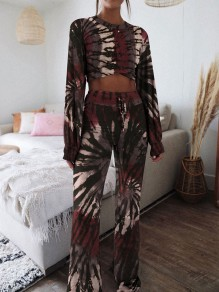 Black-Red Floral Tie Dye High Waisted Pajama Loungewear Lounge Set