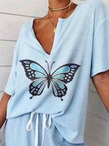 Blue Drawstring Butterfly V-neck Short Sleeve Casual Short Loungewear Lounge Sets