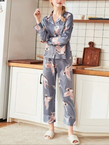 Grey Floral Print 2-in-1 Turndown Collar Long Sleeve Mid-rise Fashion Loungewear Lounge Sets