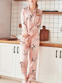 Pink Floral Print 2-in-1 Turndown Collar Long Sleeve Mid-rise Fashion Loungewear Lounge Sets