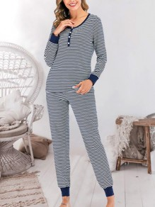 Navy Blue Striped Round Neck Long Sleeve Mid-rise Fashion Loungewear Lounge Sets