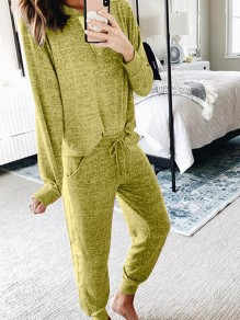 Yellow Pockets Two Piece Comfy Long Sleeve Fashion Loungewear Lounge Set