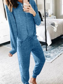 Blue Pockets Two Piece Comfy Long Sleeve Fashion Loungewear Lounge Set