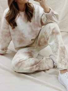 Pink White Tie Dye Round Neck Long Sleeve Casual Pajamas Loungewear Lounge Set