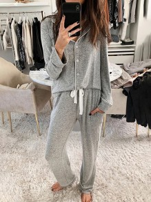 Grey Patchwork Buttons Turndown Collar Long Sleeve Fashion Loungewear Lounge Sets